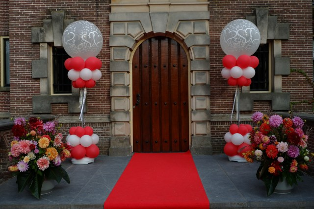 Castle door and red carpet