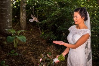 Bride and a flying bird