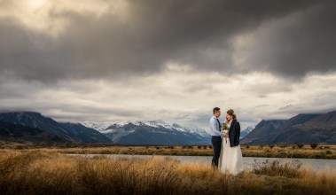 Groom and bride by Mount Cook
