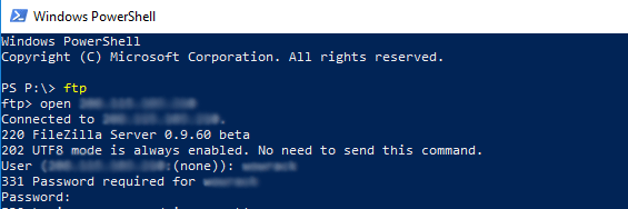 FTP command connect
