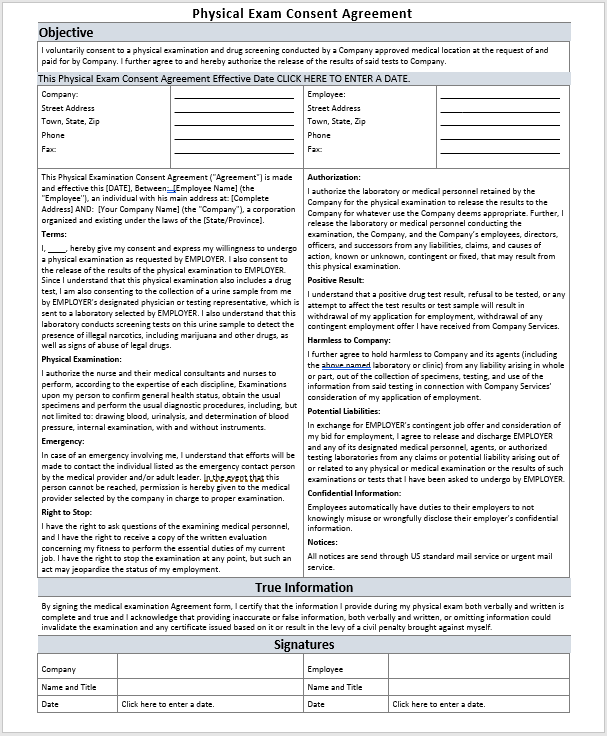 15 free physical exam consent agreement templates