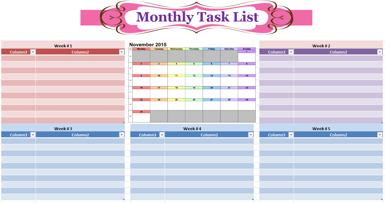 Monthly To Do List Template  Office To Do List Template