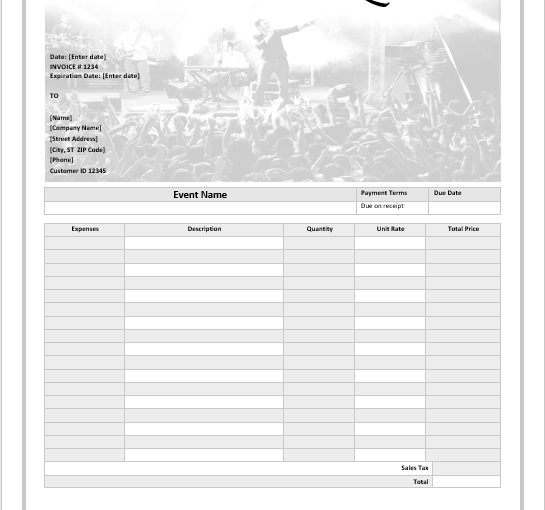 Event templates ms office documents music event quotation template pronofoot35fo Image collections