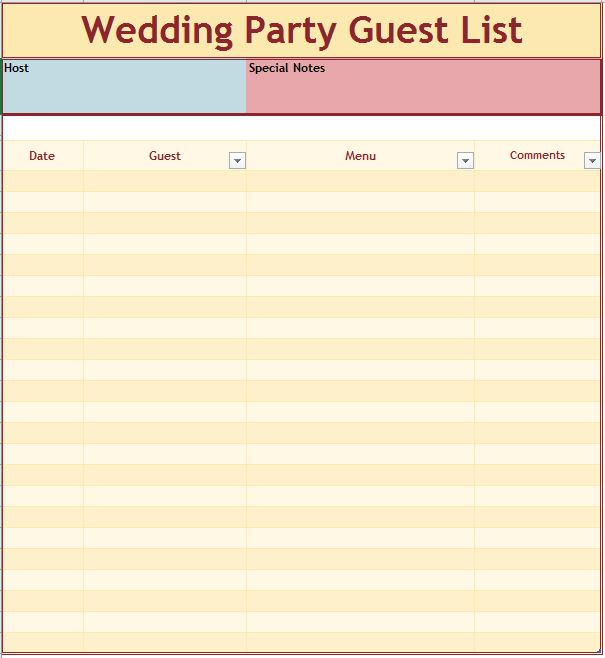 Wedding Party Guest List Template  Bridal Party List Template