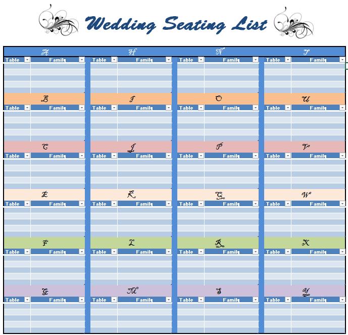 18+ Free Wedding Seating List Templates