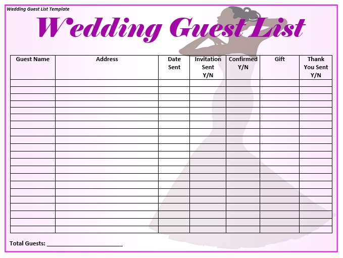 graphic about Free Printable Wedding Guest List titled 15+ Free of charge Bridal Shower Visitor Record Templates - MS Office environment