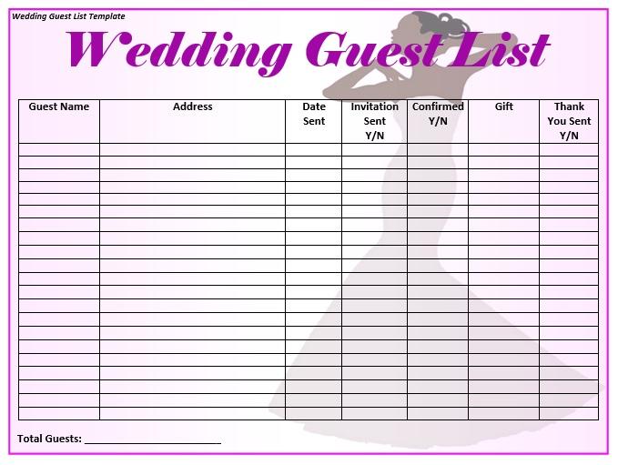 Guest List Template   15 Free Bridal Shower Guest List Templates Ms Office
