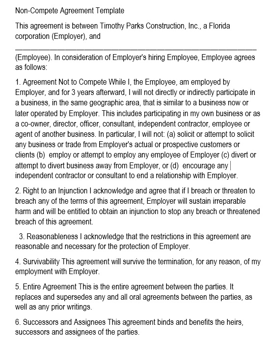 19 Free Employee Non Compete Agreement Templates