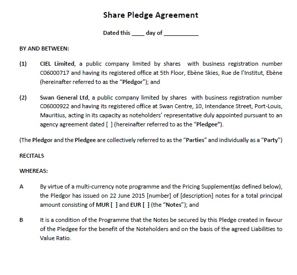 20 Free Pledge Agreement Templates For Shares Or Stock