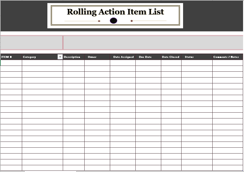 18 Free Rolling Action Item List Templates Ms Office