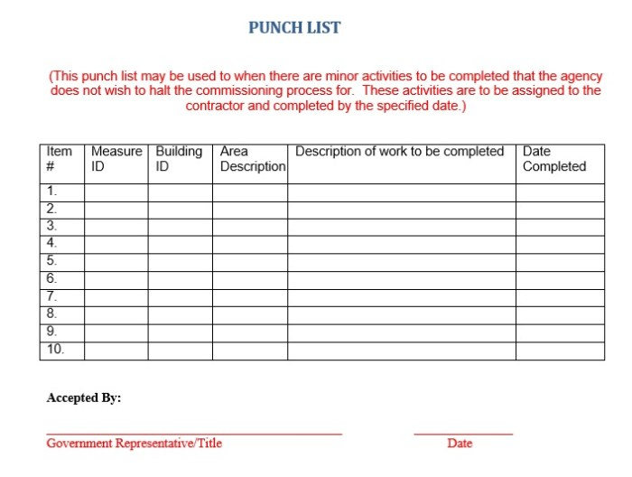 15 Free Construction Punch List Templates Ms Office Documents