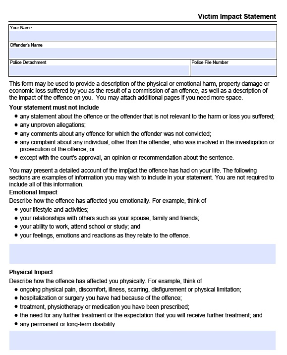 Free Victim Impact Statement Template (17 Templates) - MS Office ...