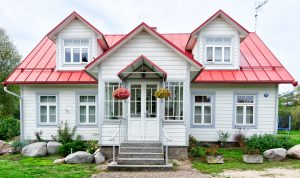 white and red house