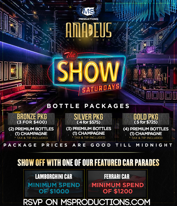 Club Amadeus Bottle Packages and specials