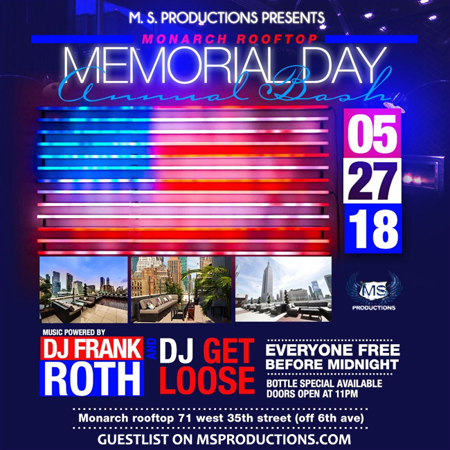 Monarch Rooftop Lounge Memorial Day Sunday Party