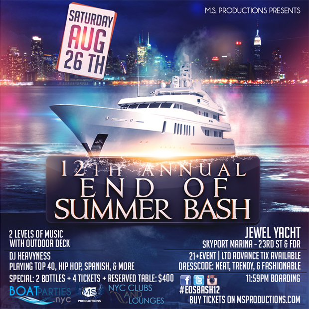 12th Annual End of Summer Bash, midnight boat party