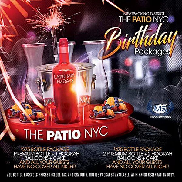 The Patio NYC Bottle Packages and specials