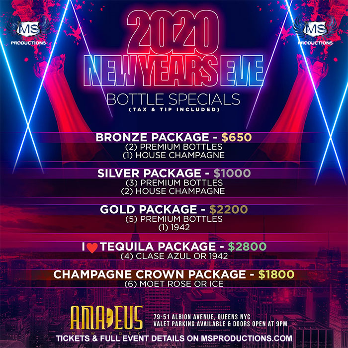 Club Amadeus New Year's Eve Bottle Packages and specials