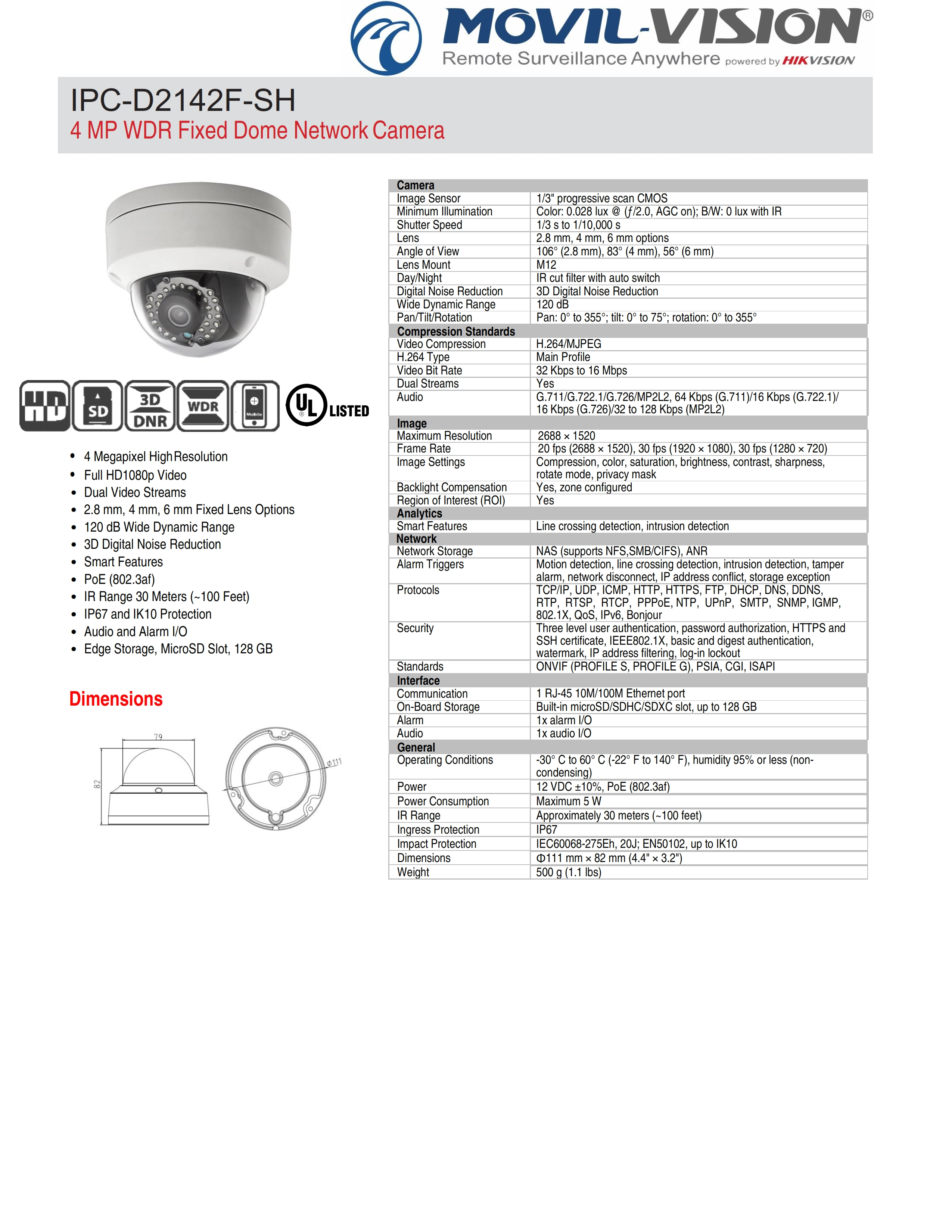 4mp Dome Poe Ir Camera Network Wdr Hikvision Oem Ipc