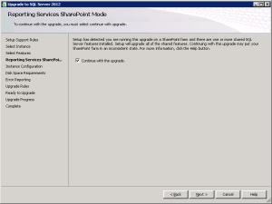 SQL Server 2012 Reporting Services Sharepoint Mode upgrade message