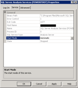 SQL Server 2012 SSAS POWERPIVOT Start Mode changed to Automatic