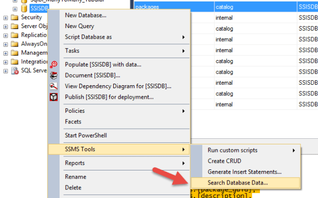 SSMS Tools Pack - Search Database Data
