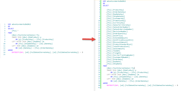 SQL Prompt - Expand Wildcard - Before vs After