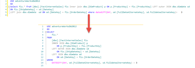 SQL Prompt - Format Code - Before vs After