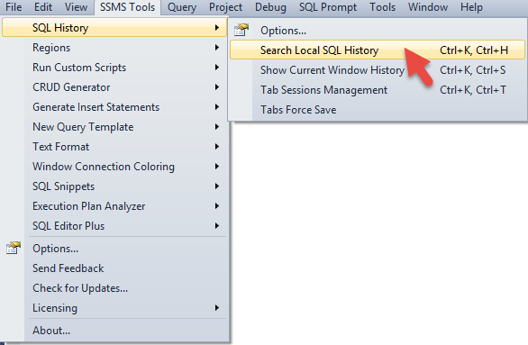 SSMS Tools Pack - SQL History