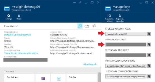 Azure Storage - Manage Keys
