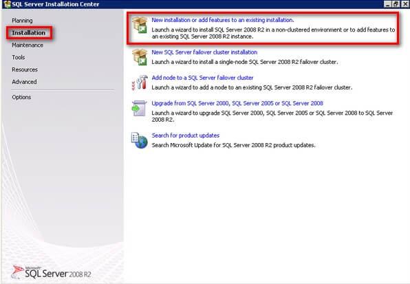 SQL Server 2008 R2 Installation Center