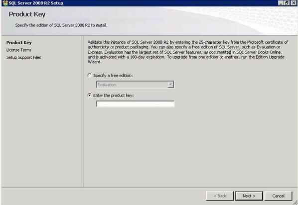 SQL Server 2008 R2 Setup Product Key