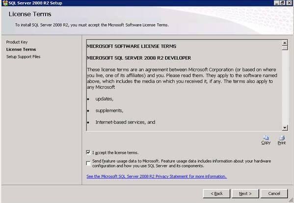 SQL Server 2008 R2 Setup License Terms