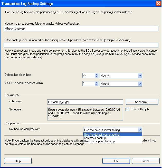 transaction log backup settings in ssms