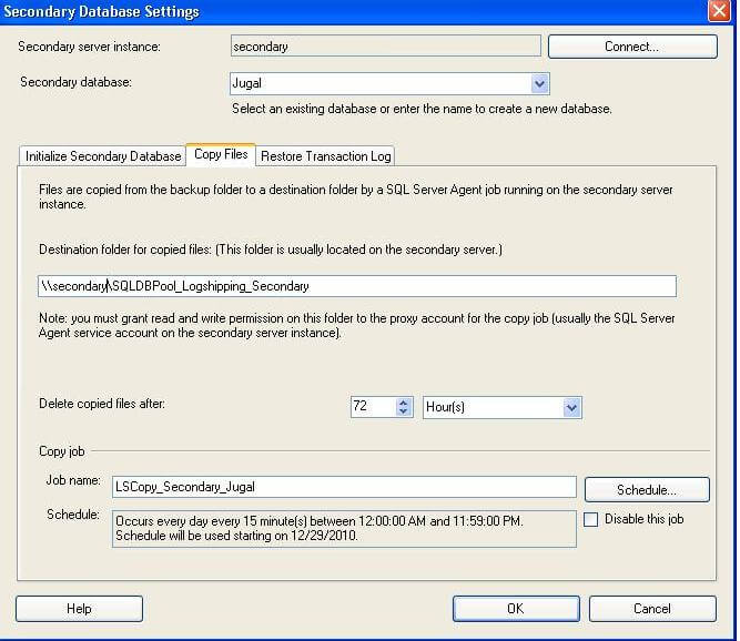specify where the log shipping copy job will copy the t-log backup files