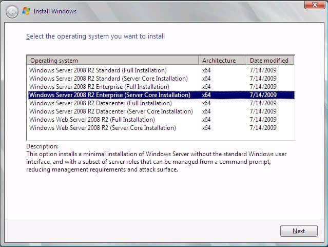 Server Core Installation