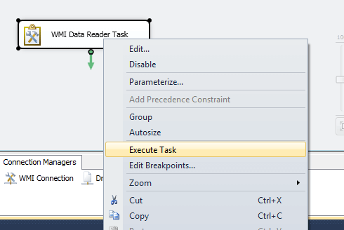 we have our WMI Data Reader Task configured