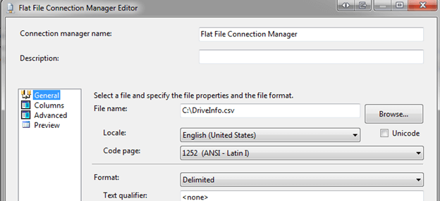 Right click on the Flat File Source