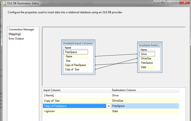 Map input columns with available destination as shown below and click OK
