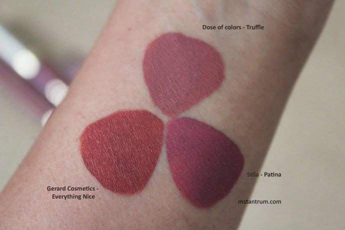 Liquid lipstick swatches with flash