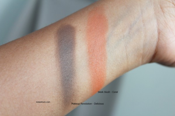 Sleek blush and Makeup Revolution swatches