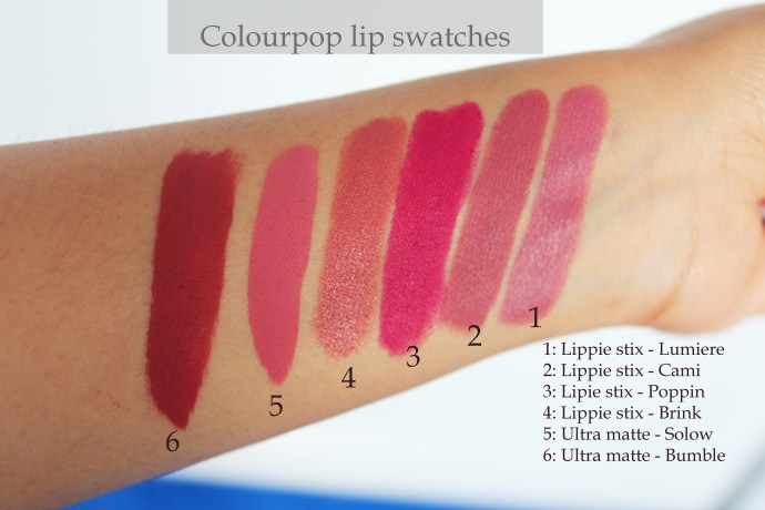 Colourpop swatches on mstantrum.com