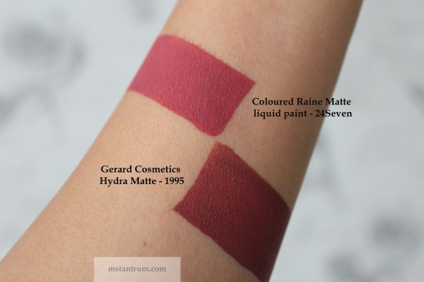 Gerard cosmetics 1995 & Coloured Raine 24Seven swatches