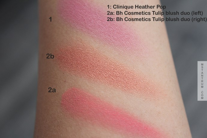 BH cosmetics Tulip and Clinique Heather pop blush swatches