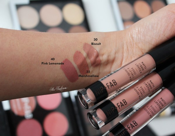Nip & Fab liquid lipsticks swatches