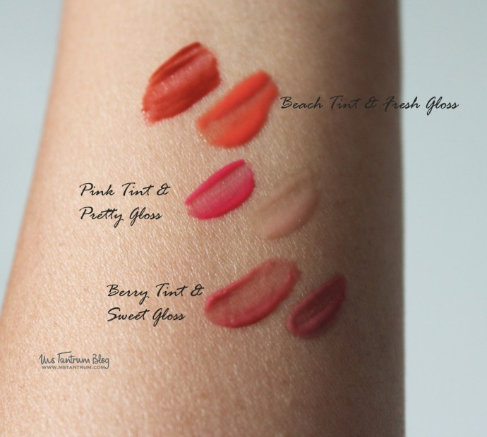 Pixi gel tints & sheer glosses swatches