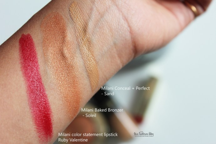 Milani foundation swatch, milani bronzer and lipstick swatches
