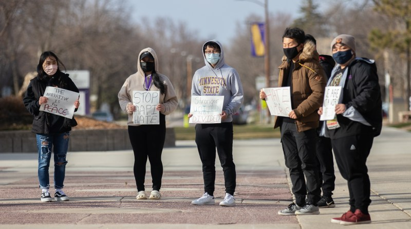MNSU Students take to campus mall for demonstration against Asian hate