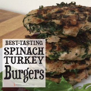 Burgers with text Best Tasting Spinach Turkey Burger