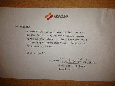 Carta de Konami a Alberto De Hoyo (fuente: Alberto De Hoyo)